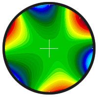Mappa della cornea ottenuta con aberrometro: la colorazione varia a seconda del grado di diffusione della luce