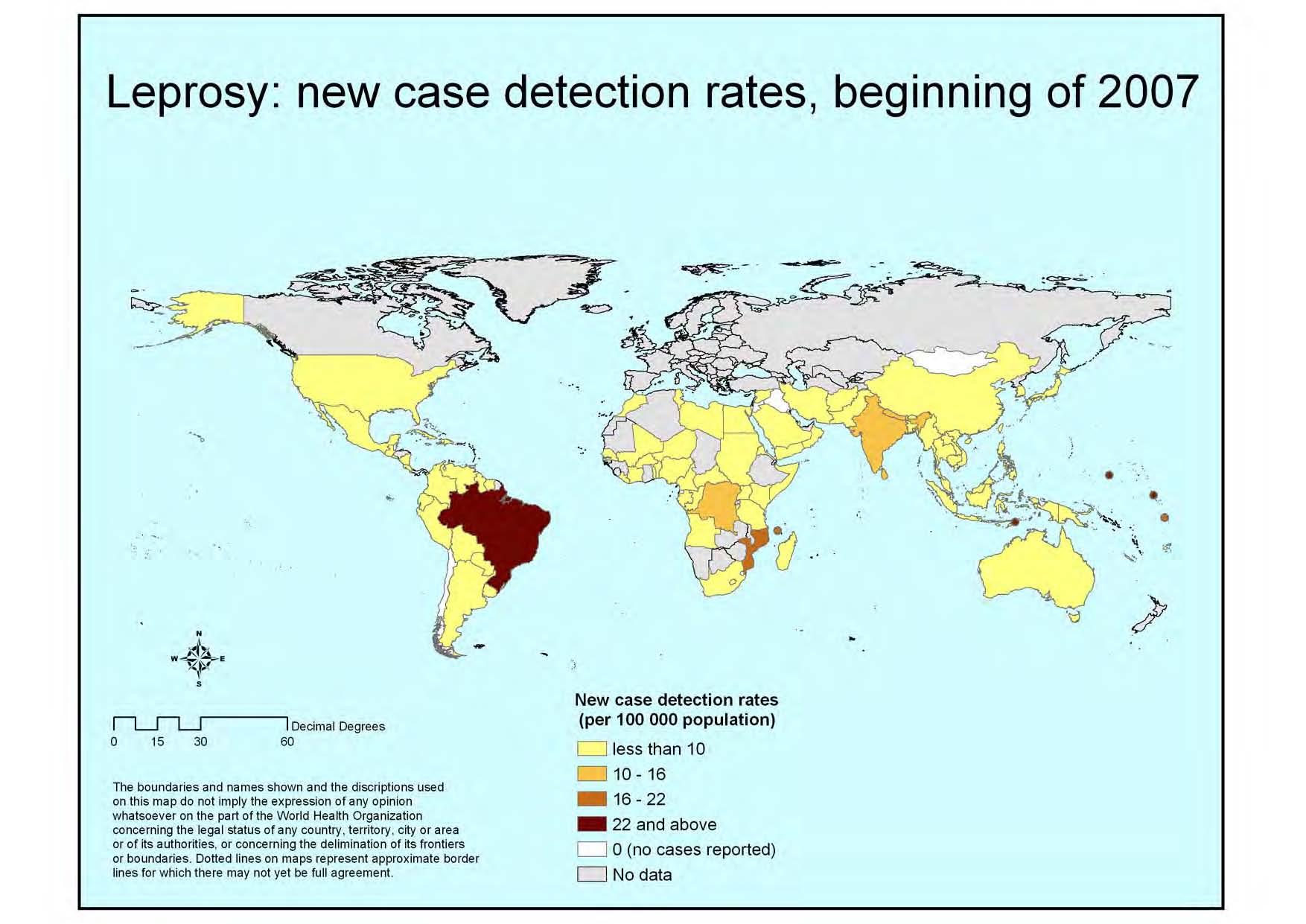 Casi di lebbra nel mondo-inizio 2007 (Fonte: Oms)
