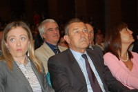 Da sinistra i Ministri Giorgia Meloni e Ferruccio Fazio, il Governatore del Lazio Renata Polverini (Roma, 22 giugno 2010 presso il Sanit)