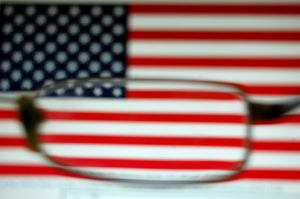 bandiera sfocata lente occhiale